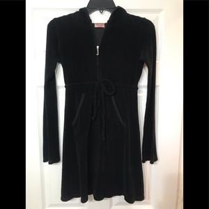 Juicy Couture tie waist hooded L/S terry dress BLK